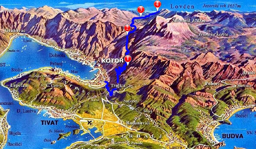 Lovcen  tour mapa