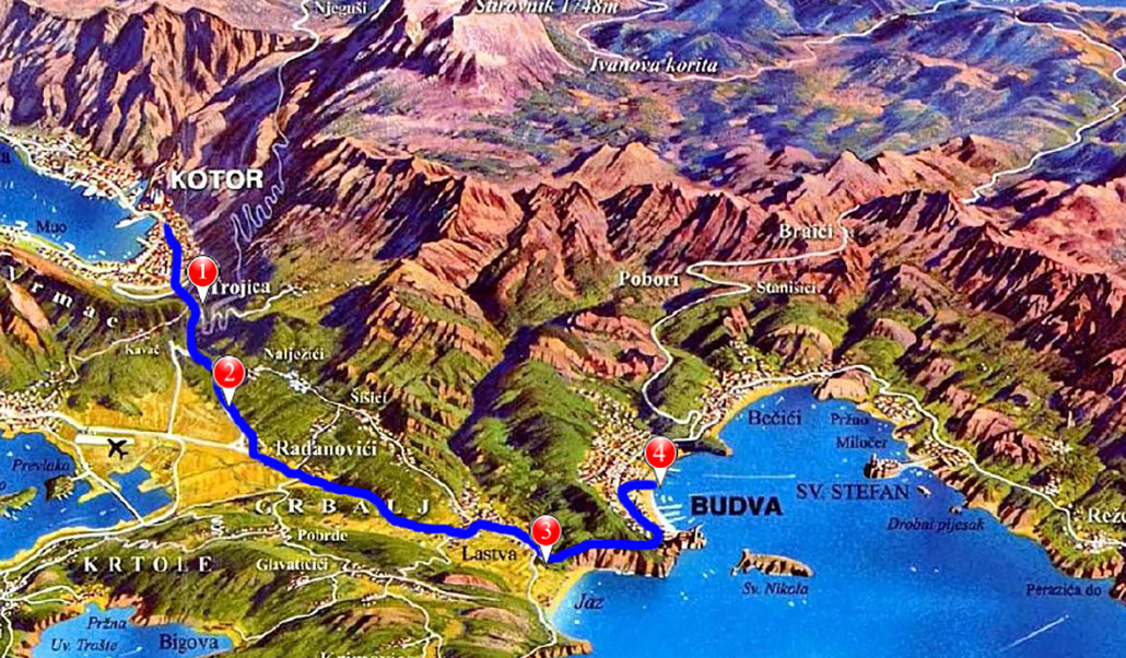map of budva tour